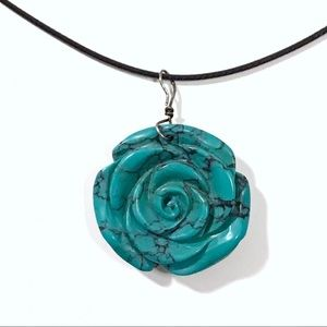 Jewelry - Carved Howlite Turquoise Rose On Cord Necklace